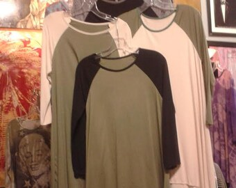 Baseball Jersey Dresses in olive, black, and cream...
