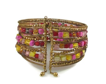 Colorful Beaded Cuff Bracelet