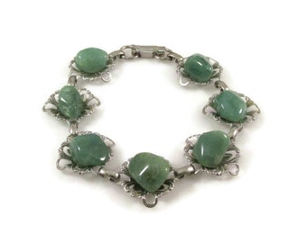 Natural Polished Green Stone and Silver Tone Filigree Link Bracelet