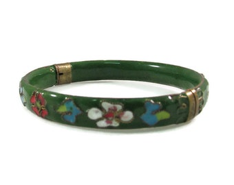 Floral Cloisonne Colorful Hinged Bangle Bracelet