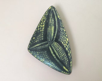 Modernist Copper Enamel Triangular Dish