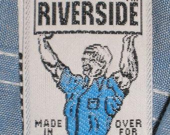 Vintage 70s RIVERSIDE Blue CHAMBRAY Work Shirt. NWOT. Nos. 12
