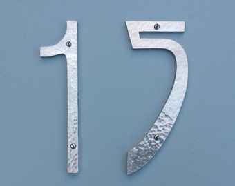 "Pewter Art Nouveau metal house numbers  2 x 6"" high in polished or hammered finish e"