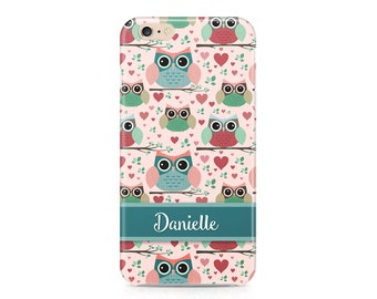 Owls Phone Case, Pastel Owl Pattern Phone Case, Shabby Chic Phone Case, Cute Phone Case, Custom Phone Cover, iPhone 7, Samsung Galaxy S8