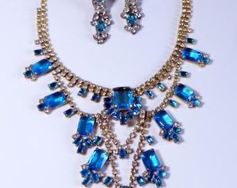 Husar D Czech Ice Blue Glass Necklace Clip Earring Set