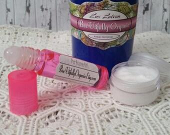 Amber Romance Bath & Body - Hemp Lotion - Body Gift Set - Bath Gift Set - Organic Bath - Perfume Set - Lotion Set - Perfume Oil - Body