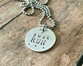 Run Necklace-JUST RUN Motivational Running Necklace for Marathon, Half Marathon ,10k or 5k