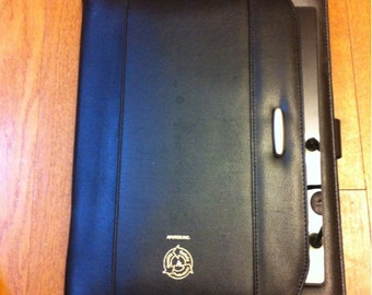 3-Point Zipper Black Faux Leather Portfolio Notebook Ipad Tablet Surface Holder Case Organizer