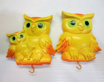 Yellow w/Orange & Green Owls Vintage 1977 Miller Studio Chalkware Wall Plaques