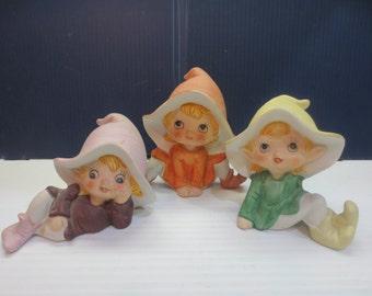 Playful Elf, Elves Vintage Homco Figures from the 1970 - Set of 3