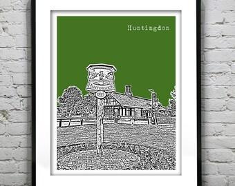 Huntingdon England Skyline Poster Art Print UK Version 1