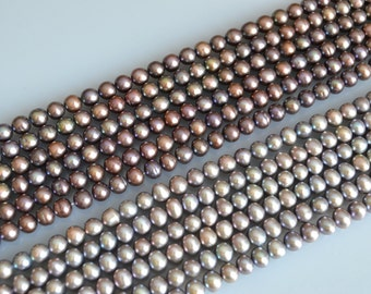 AA FreshWater Pearl Beads Round/Potato Shape Metallic Color Size Approx. 6.5-7mm #F2-18