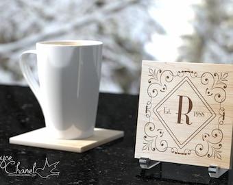 Personalized custom handmade maple hardwood Coaster Set