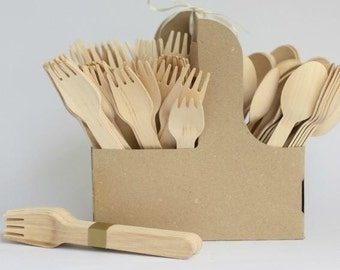 10 pcs x Wooden cutlery, disposable cutlery, rustic wedding, bamboo cutlery, wood spoon, disposable utensils, picnic cutlery, plastic forks