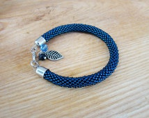 Beaded bracelet Seed glass bead crochet bracelet Denim jewelry Dark blue naval bracelet Crochet bead rope bracelet Anklet Simple bracelet