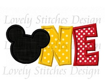 Mickey ONE Applique Machine Embroidery Design NO:0453