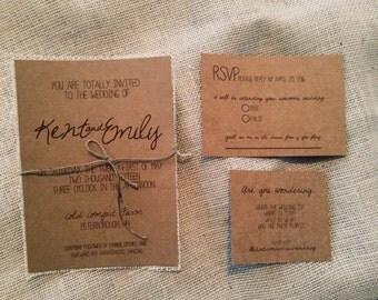 Kraft Wedding Invitation Package