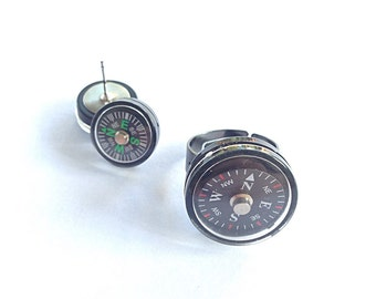 Compass ring and earring set