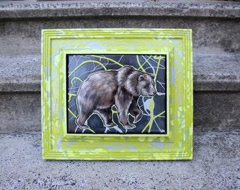 Green & Gray Framed Bear Painting