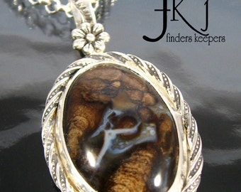 """Little Dancer Silver Gemstone Cabochon Pendant Necklace, Stromatolite Cabochon, 18"""" Sterling Rolo Necklace, Handcrafted Jewelry, A"""