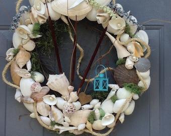 Door wreath. Sea shell wreath/home decor
