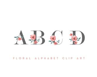 Digital Floral Alphabet// Floral A B C// Floral lettering// Digital Scrapbooking