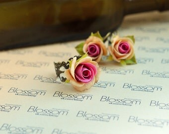 Vintage roses set, earrings, ring, polymer clay