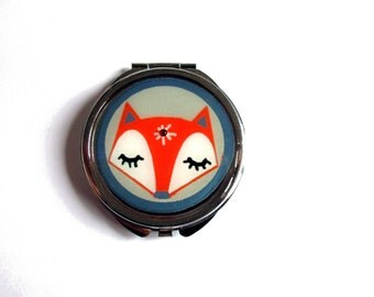 Fox mirror, red fox mirror, sleeping fox face mirror, fox accessories, animal, girlfriend gift, teens gift, groovy, hippy