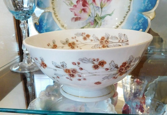 1800s Antique Ironstone Waste Bowl Victorian Aesthetic Period Carlsbad Austria Marx Gutherz Brown Polychrome  Floral Transferware
