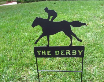 Kentucky Derby Party Signs,Derby Party Sign Horse Memorials,Derby Signs,Jockey and Horse Derby Horse,Pet Memorials, Metal Horse Signs