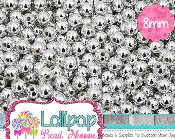 8mm SILVER Beads Acrylic Round Beads Metallic Beads Shiny Silver Spacers Spacer Beads Ball Beads Plastic Bubblegum Beads Bottlecap Beads