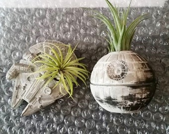Death Star planter gift set, air plant holder, desk planter, Millennium Falcon, Star Wars geekery, nerdy gift