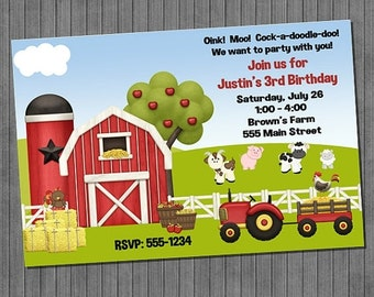 FLASH SALE 50% OFF Farm Birthday Invitations