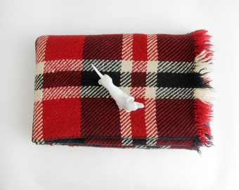 Vintage blanket // red, black and white plaid wool blanket