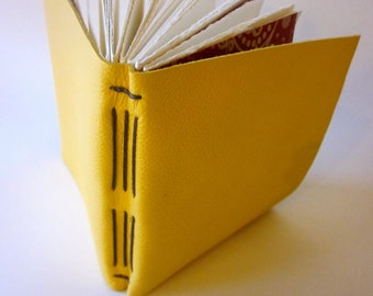 Hand Made Long Stitch Leather Sketch Book Journal (yellow)
