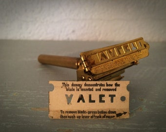 Antique 1920's Valet Gold Plated Auto-Strop Safety Razor