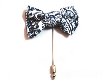 Navy Blue and White Paisley Bow Tie Lapel Pin