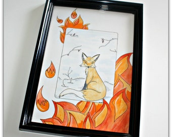Fox, framed illustration
