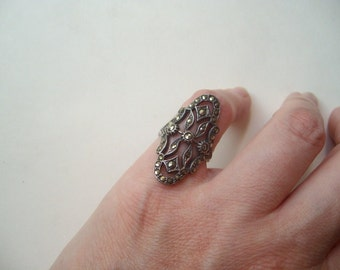 Vintage sterling silver marcasite ring, statement ring, marcasite statement, dramatic vintage, Victorian style, size 6 silver ring