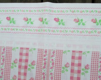 """Tea Rose Flowered Pillowcases, Pink Roses,Old Poly/Cotton,Pink and Green, Little Girls,-Set of 2,""""Shabby"""