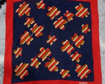 Vintage Givenchy Paris Red and Blue Canadian Leaves Pattern 100% Silk Scarf - Free Shipping