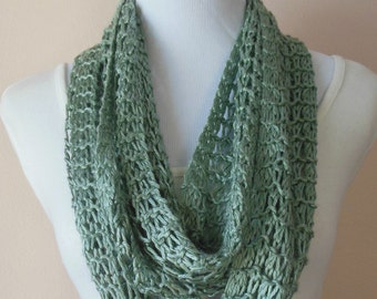 Sage Green Hand Knit Lacy Light Weight Open Weave Infinity Scarf