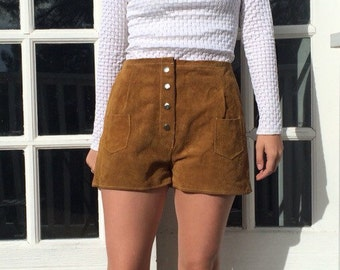 70s Caramel Suede Lederhosen Shorts