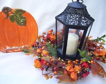 SALE Fall Berry Wreath with Orange Chinese Lanterns and Oak Leaves Wedding Decor Candle Ring