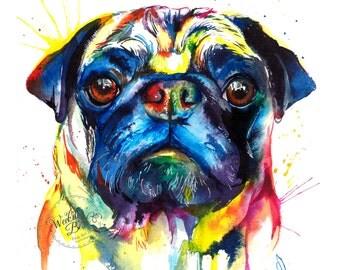 Colorful Pug Art Print - Print of my Original Watercolor Painting