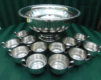 Vintage Silver Plated Punch Bowl with 12 Cups, by Oneida