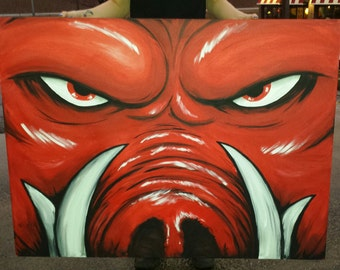 """Official Arkansas Razorback painting """"Tusks"""" on big canvas 2'x3' or 3'x4'"""