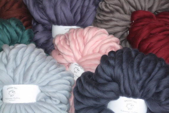 "Giant Super Chunky Yarn, Super- THICK Yarn, ""Smoosh Yarn"" ™ For Chunky Blankets, Extreme Hand Spun yarn"