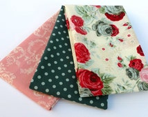 Aubrey Rose Half Yard bundle - fabric bundle, Christmas rose, floral fabric, girl fabric, romantic, shabby chic, Clothworks, Lecien, dot