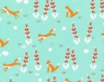 Fox in the Foxgloves Turquoise organic fabric - Foxglove by Aneela Hoey for Cloud9 - fox fabric, modern fabric, modern floral, aqua fabric